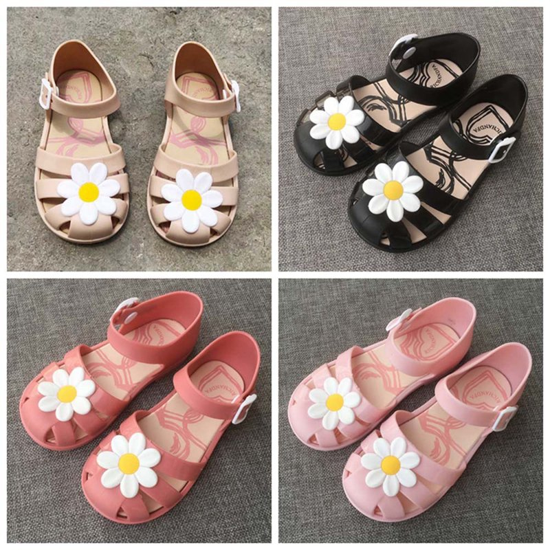 Kids Girls Summer PU Leather Beautiful Flower Pearl Princess Shoes Sandals