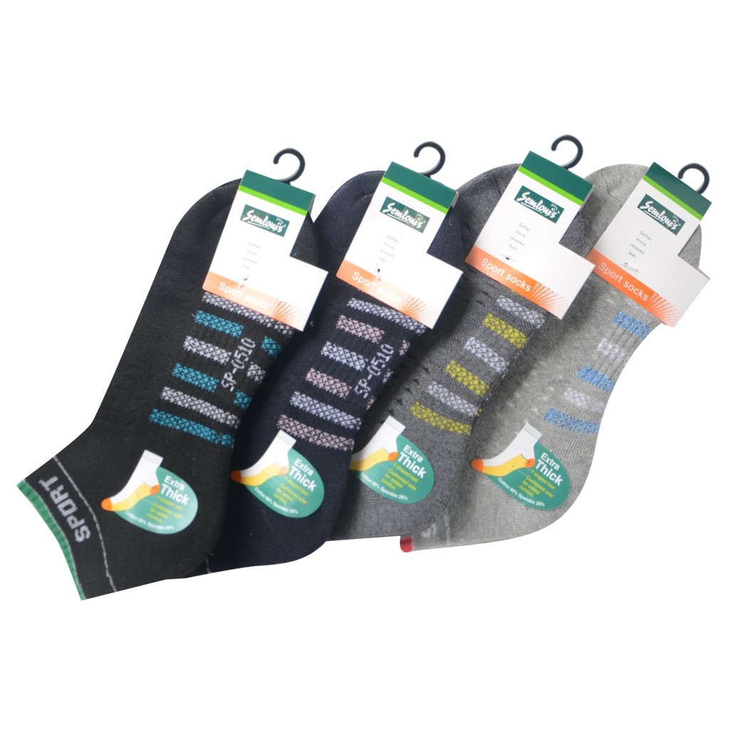 Semlouis Sport Ankle Cushion Base Socks - 7 Lines with Sport Logo