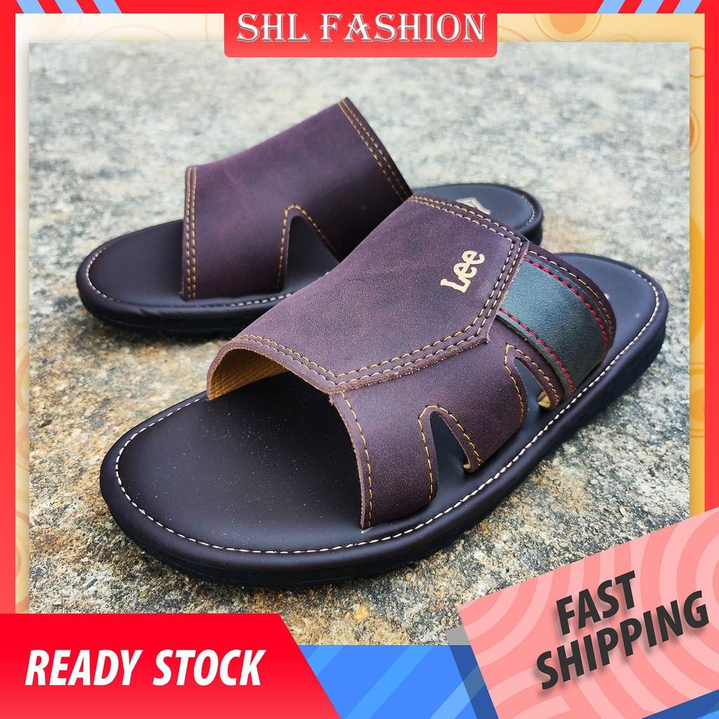 SHL Men PU Leather Sandal Advanced Selipar Kasut Lelaki size 40-44【男士拖鞋】- 9006