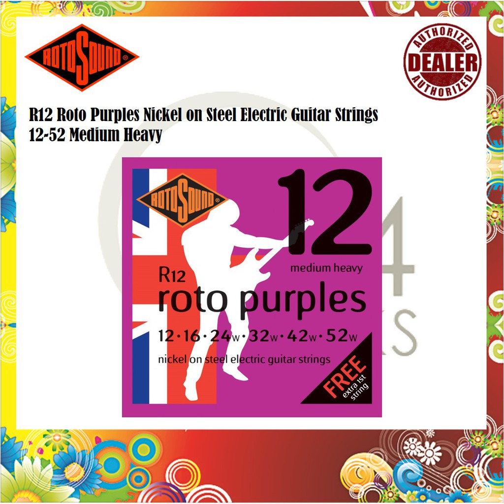 Made in the UK Rotosound R12 Roto Purples Electric Guitar Strings Gauge 12-52