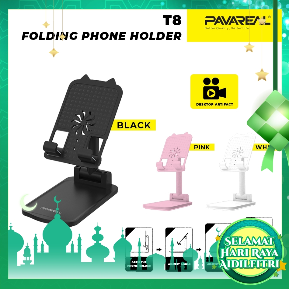 PAVAREAL PA-T8 Foldable Phone Holder Stand Dual Axis Dock Phone Bracket Stable Anti-Slip Design Angle Height Adjustable