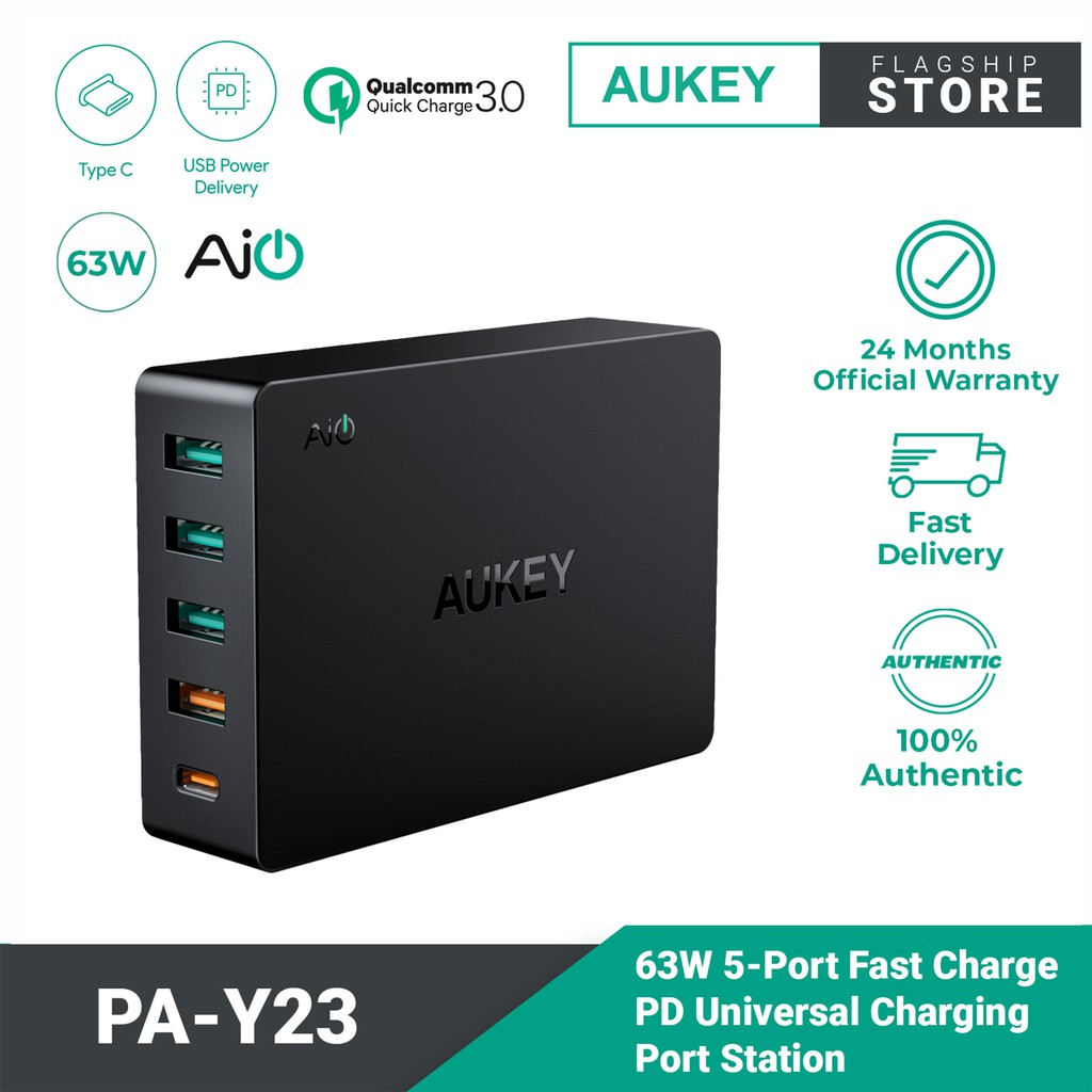 AUKEY PA-Y23 63W 5-Port Power Delivery 3.0 Desktop Charger Pro Series with Quick Charge 3.0
