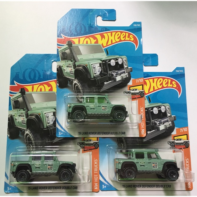 hot wheels 15 land rover defender double cab - green / pcs | shopee