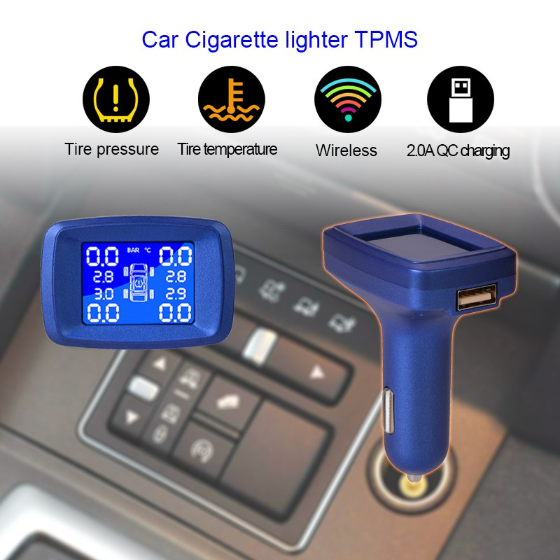 Smart Car Cigarette lighter Tire Pressure Monitoring System Auto Security  Alarm Systems Tyre Pressure LCD Display