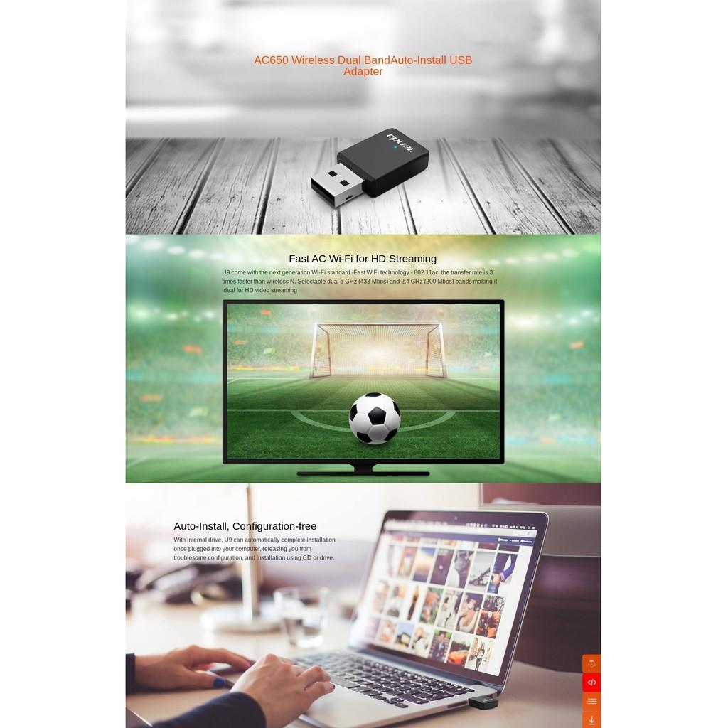 Tenda U9 Dual Band 5GHz + 2.4GHz AC650 Mini USB Wireless WiFi Adapter (Auto Install, No CD Needed) similar with U3 U12