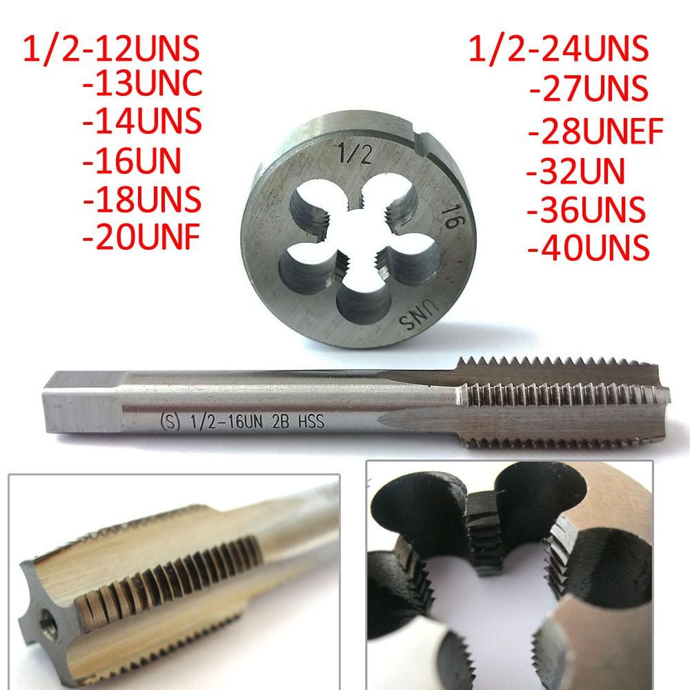 1pc HSS Machine 1//2-40 UNS Plug Tap and 1pc 1//2-40 UNS Die Threading Tool