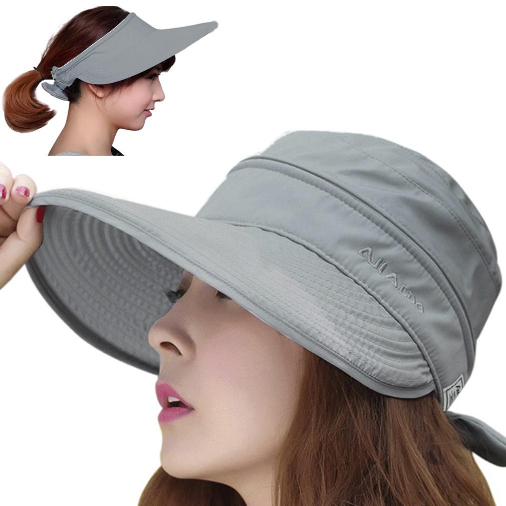Outdoor Fashion Lady Summer Beach Sun Visor Dual-Use Wide Brim Anti-UV Hat Cap