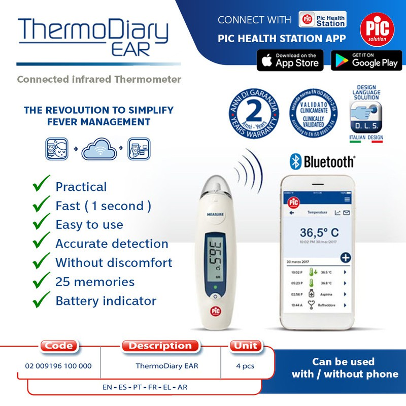 Italy Design ThermoDiary Ear Infrared Thermometer|Family & Kids - 2 Yrs Warranty