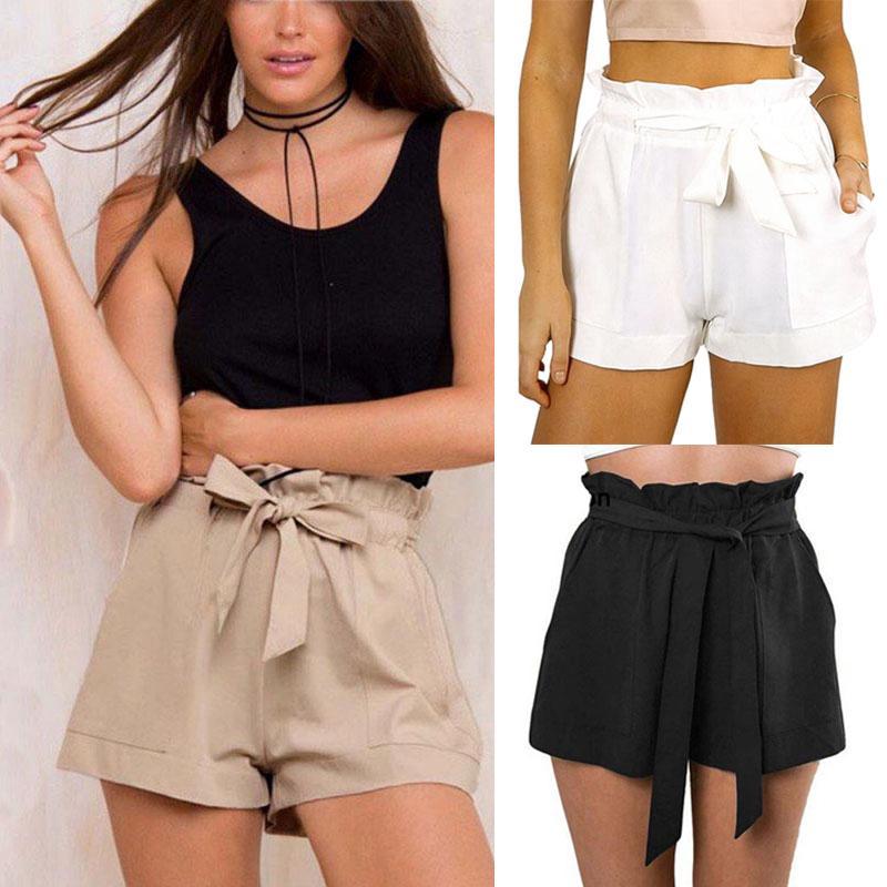 dc65150072 ❤Women Hot Pants Summer Casual Loose Shorts Bow Beach High Waist Short  Trousers