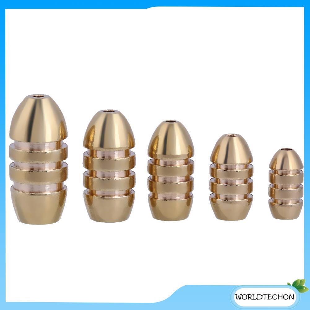 5pcs Weight Bullet Shape Pure Brass Lead Sinker Fishing Fish Catch Tackle