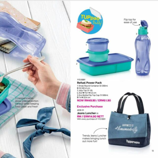 [Ready Stock]Tupperware Refuel Power Pack pwp Jeans Luncher