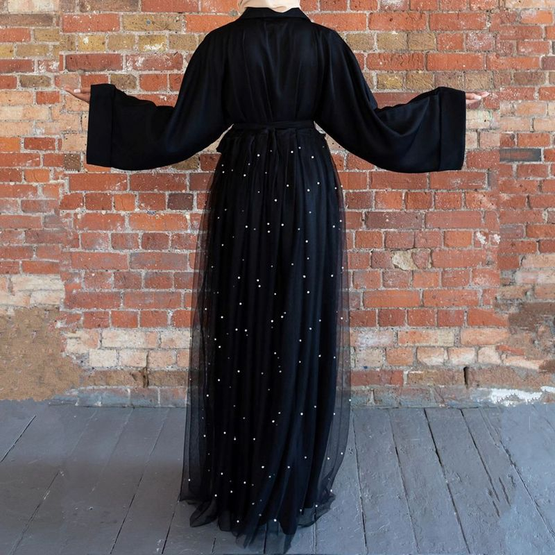 2020 Black abaya dubai kaftan ramadan turkish kimono cardigan Lace muslim Hijab dress moroccan Islamic Clothing Robe plus size