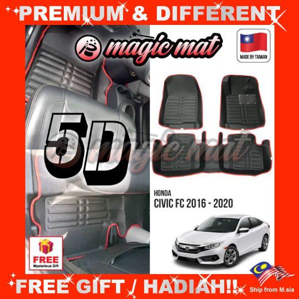 [FREE GIFT Gift] HONDA CIVIC FC 2016 - 2020 (5 Seater) MAGIC MAT 5D OEM PU Leather Floor Mat Anti-Slip Easy Clean Carpet