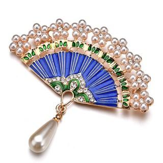 097f48e1a Brooches Pins Rhinestone Beads Vintage Fashion Imitation Pearl Fan Shaped  Brooch For Women | Shopee Malaysia