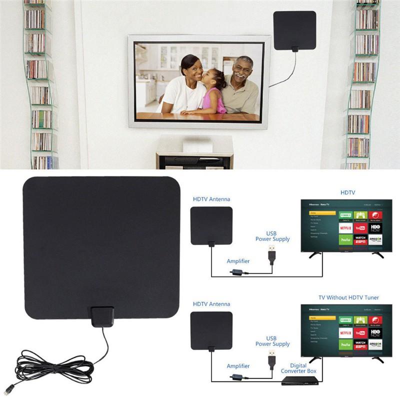 New HD Flat Indoor Digital HDTV TV Antenna Amplified VHF UHF Amplifier 50 Miles