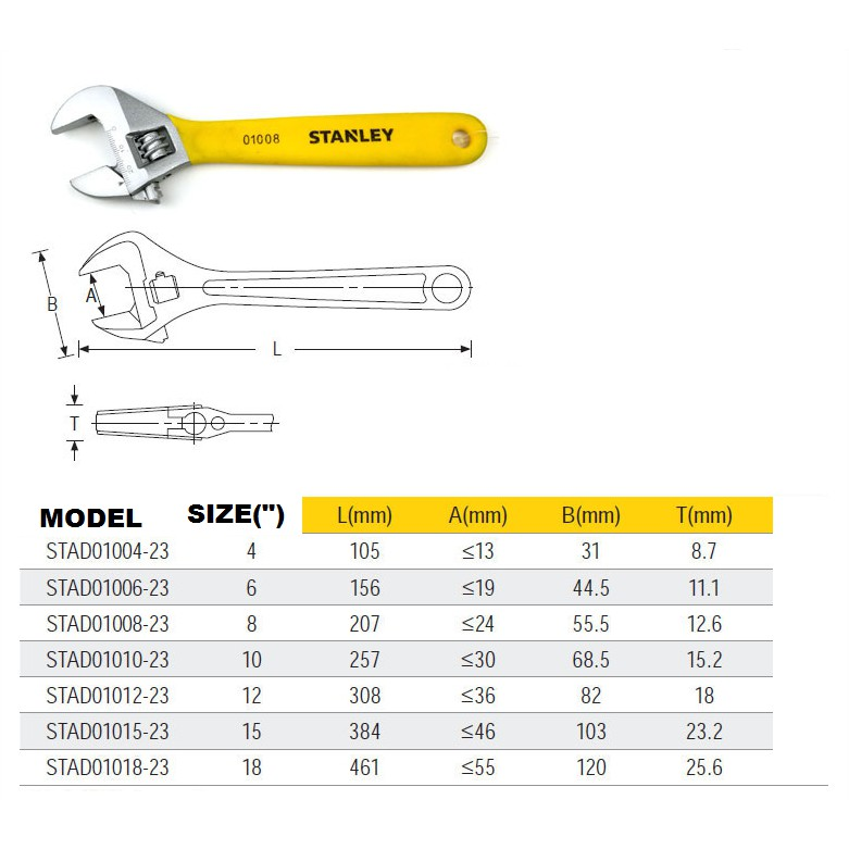 """4""""-18"""" STANLEY ADJUSTABLE SPANNER WRENCH"""