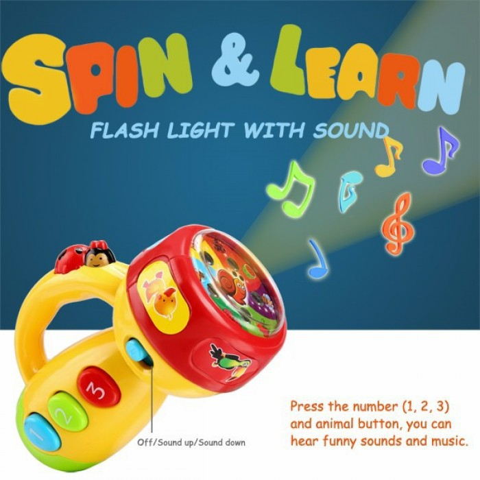 BABY TOYS SPIIN & LEARN FLASHLIGHT TORCHLIGHT WITH SOUNDS