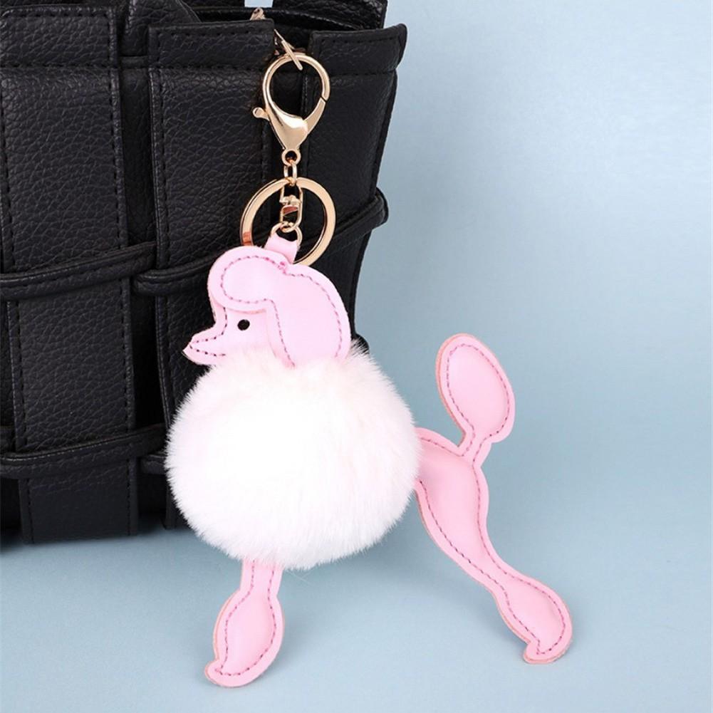 Cute Puppy Doll Keychain Imitation Rex Rabbit Fur Ball Car Keychain