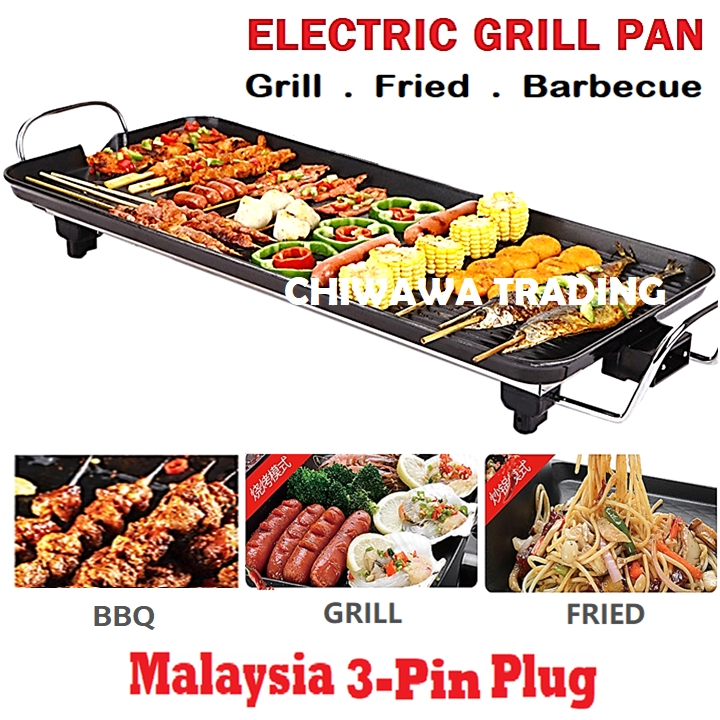 2 IN 1 Electric Barbecue BBQ Baking Grill Pan Non Stick Teppanyaki Hot Pot Steamboat Frying Cooker Temperature Control