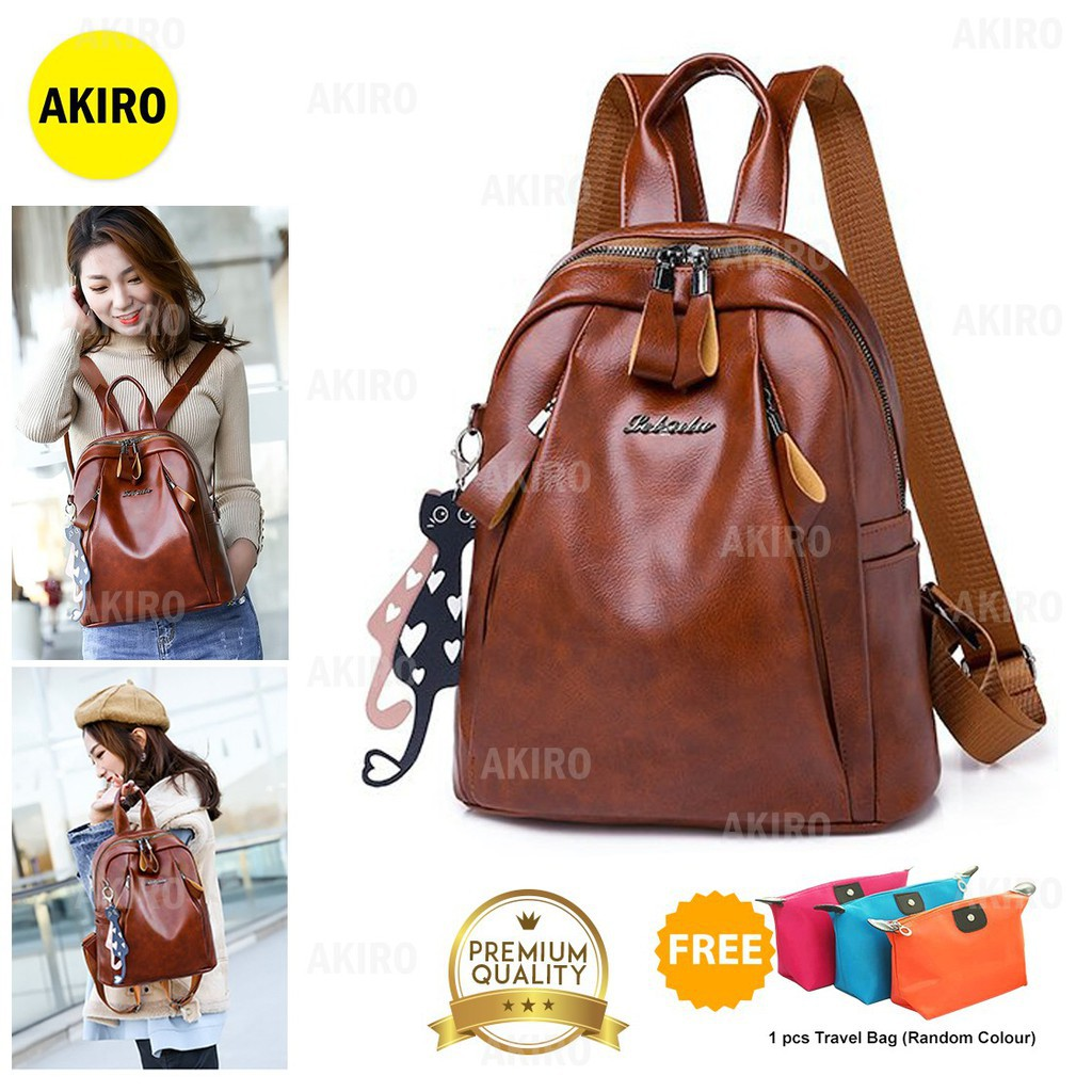 03a4c6942ca Sales promotion AKIRO Korean Anti-theft PU Leather Casual Shoulder School  Backpack Bag Beg