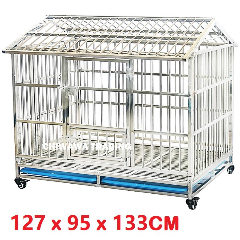 CGR1【127 x 95 x 133cm】 Stainless Steel Pet Dog Cat Rabbit Cage Crate House Home / Rumah Haiwan Anjing Kucing Sangkar
