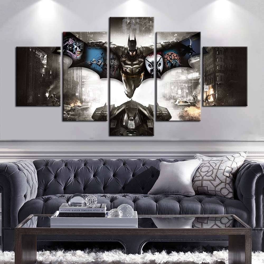 5 Pieces Batman Fantasy Art Oil Painting Hd Print Wallpaper Canvas Painting Wall Stickers Room Decor Birthday Gifts Artwork Shopee Malaysia