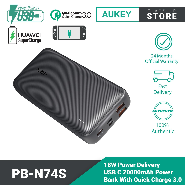 Aukey PB-N74S Basix Plus 22.5W PD QC 3.0 20000mAh Power Bank