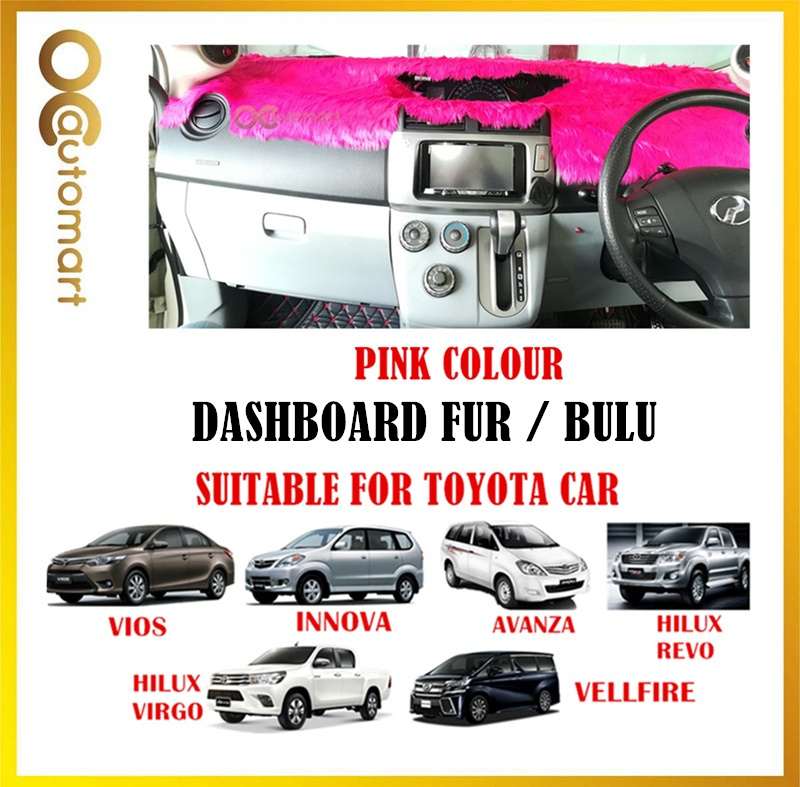 (Colour Pink) Customized Dashboard Cover Fur / Bulu For Honda Nissan Toyota Isuzu