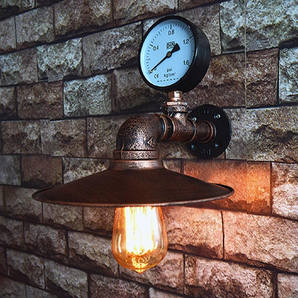 Industrial Steampunk Loft Twin Vintage Pipe Lamp Horizontal Metal Wall Sconce