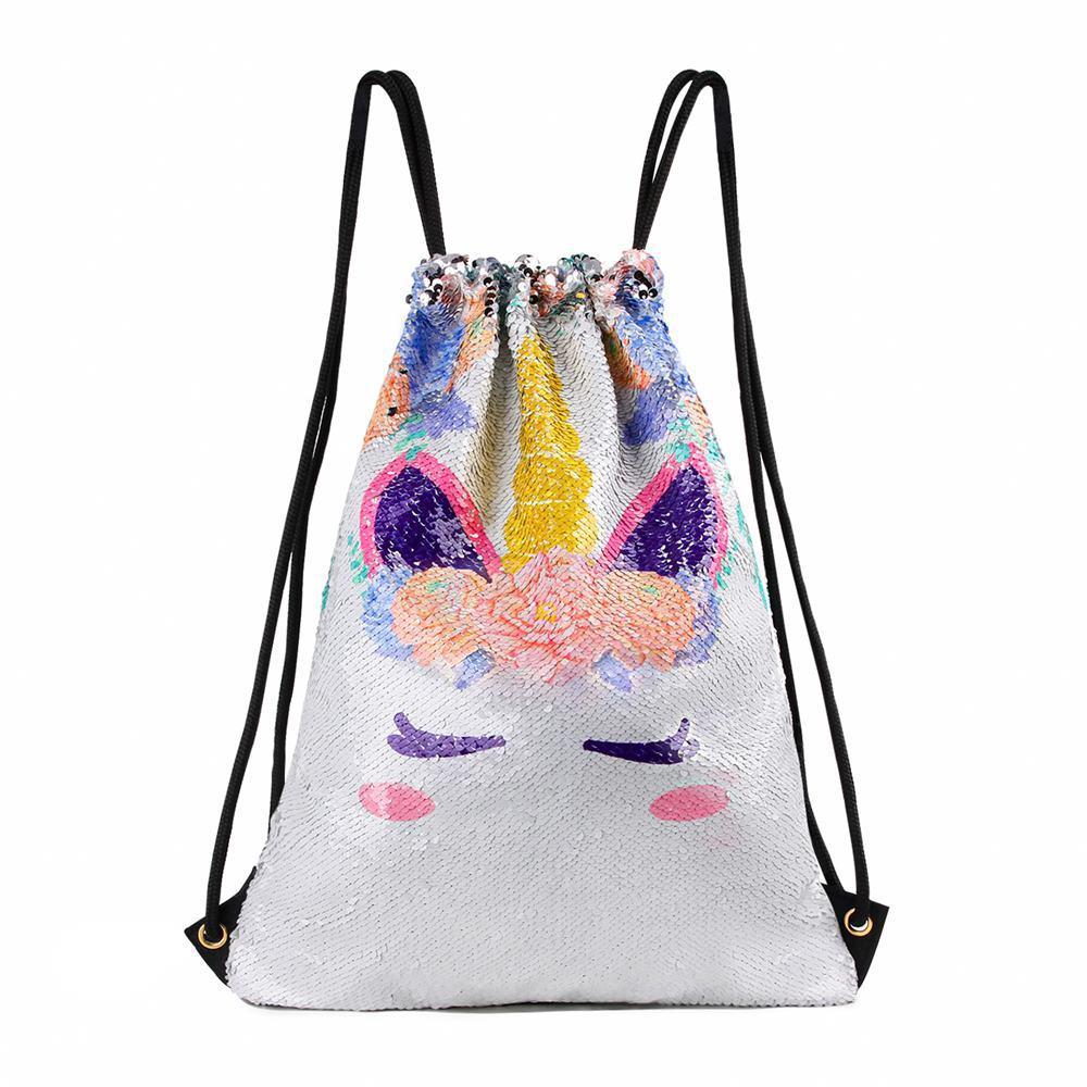 Sequin 3D Unicorn Backpack School Shopping Bag Rucksack Satchel Christmas  !!!