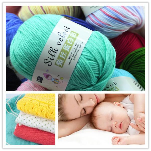 ab428389600d 50g Super Soft Smooth Natural Silk Wool Baby Yarn