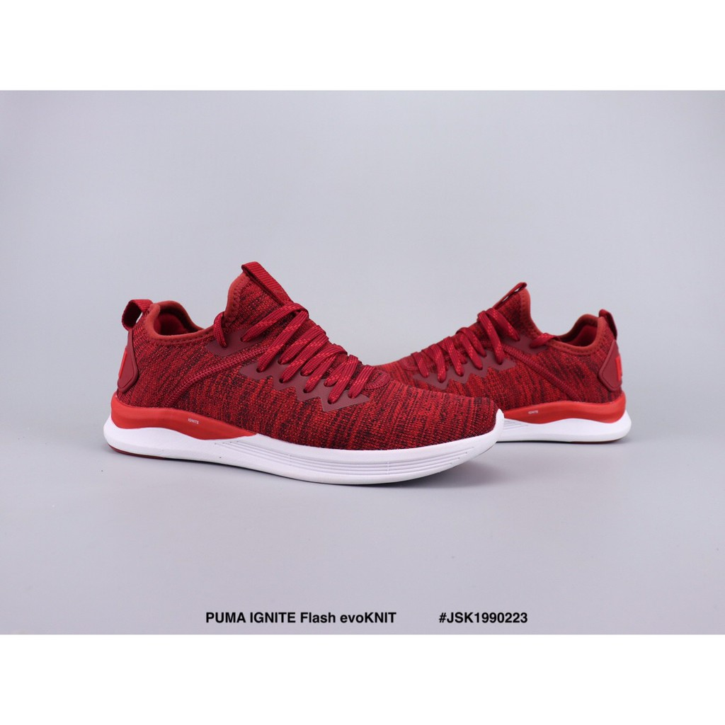 quality design 3b53d 8412d 🌟Ready Stock🌟 PUMA IGNITE Flash evoKNIT red running shoes men and women