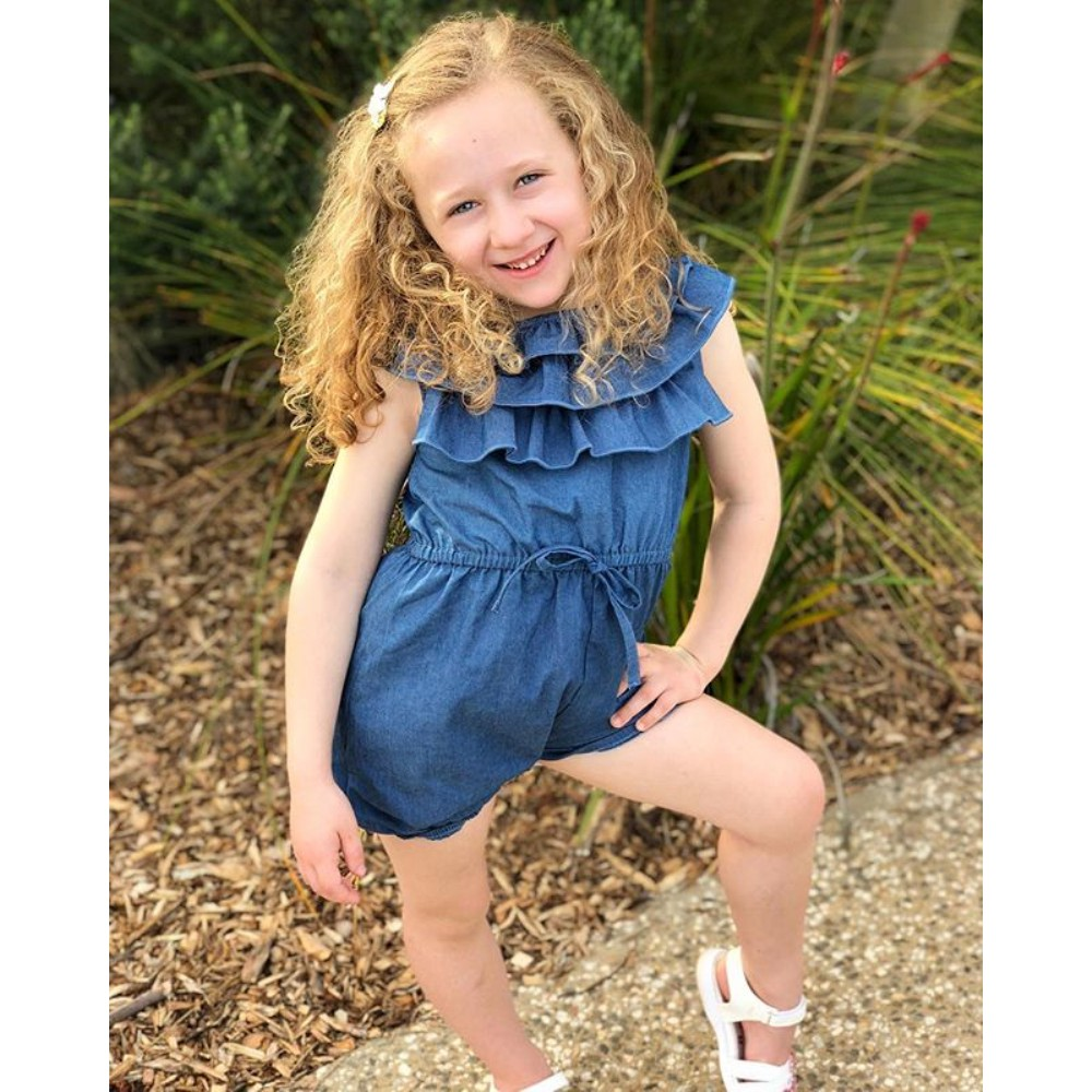 UK Toddler Baby Girl Denim Ruffle Romper Bodysuit Jumpsuit Sunsuit Outfit Summer