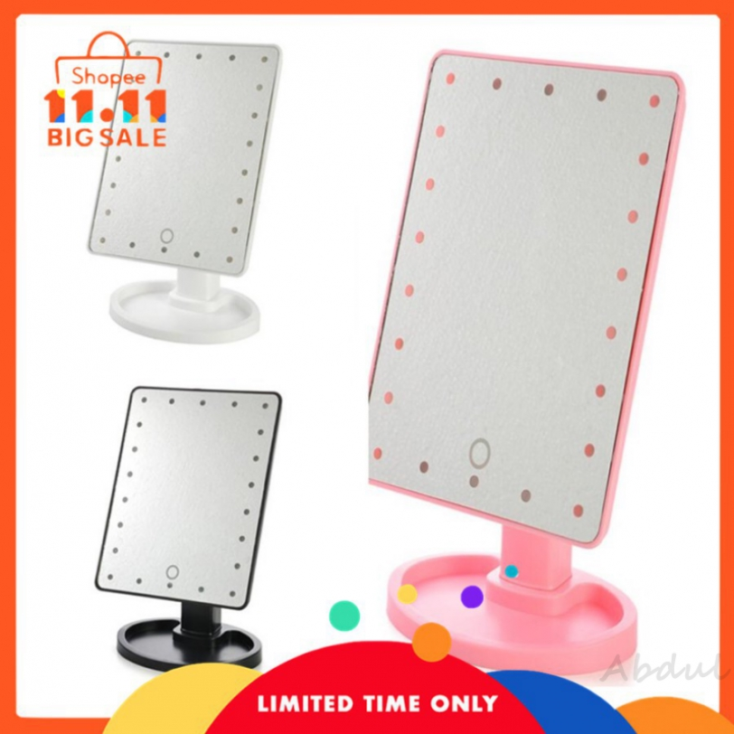 abdul Cermin Meja Dengan 22 Lampu Screen Touch 16 Led Light 360
