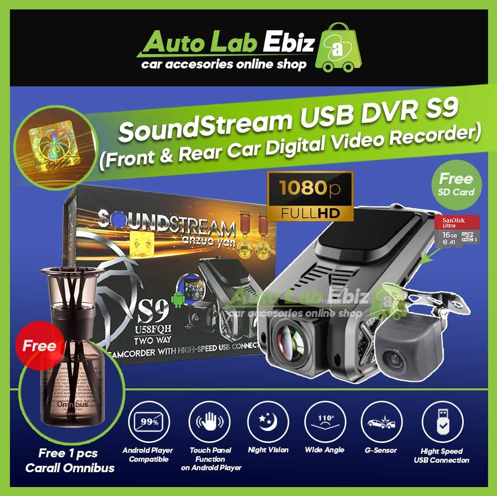 SoundStream USB Front DVR Car Camera HD Driving Video Recorder S9 (with Revere Camera) for Android Player (Free Omnibus)