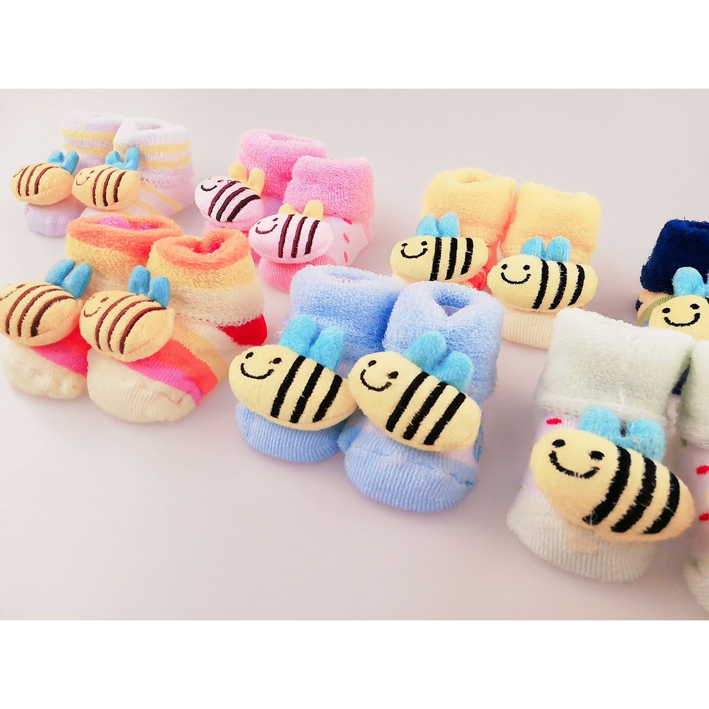 ⭐Ready Stock⭐New Born Baby Socks Cute Cartoon 3D Doll Breathable Stokin Bayi - BEE