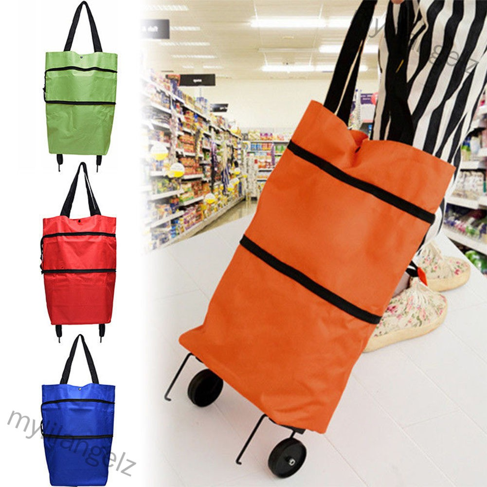 Mylilangelz Folding Shopping Bags Trolley Grocery Shopper Lightweight Foldable with wheels (READY STOCK)