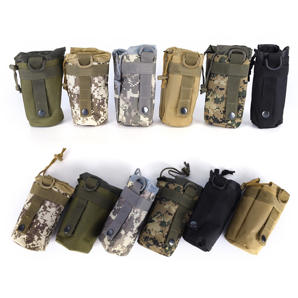 Camouflage Tactical Military Water Bottle Cup Carrier Insulated Cover Bag Pouch