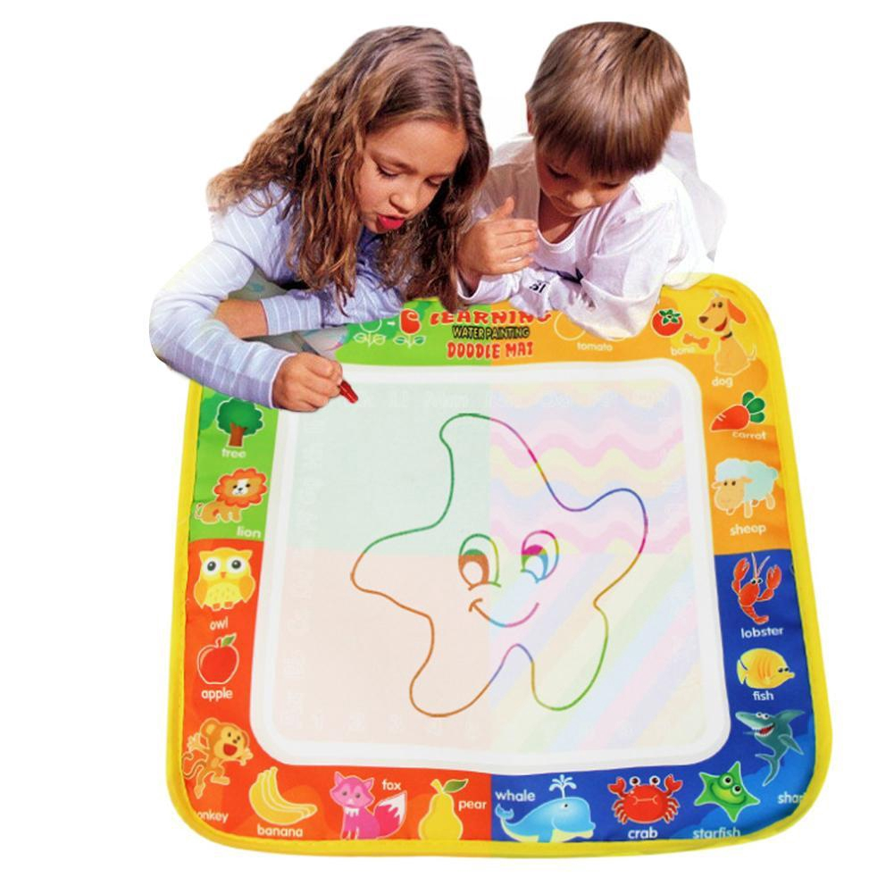 Kids Magic Water Drawing Canvas Coloring Mat With 1pc Pen Baby Doodle Painting
