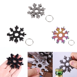 18 In 1 Outdoor Portable Snowflake Multi Pocket Tool Spanner Hex Wrench Keyring