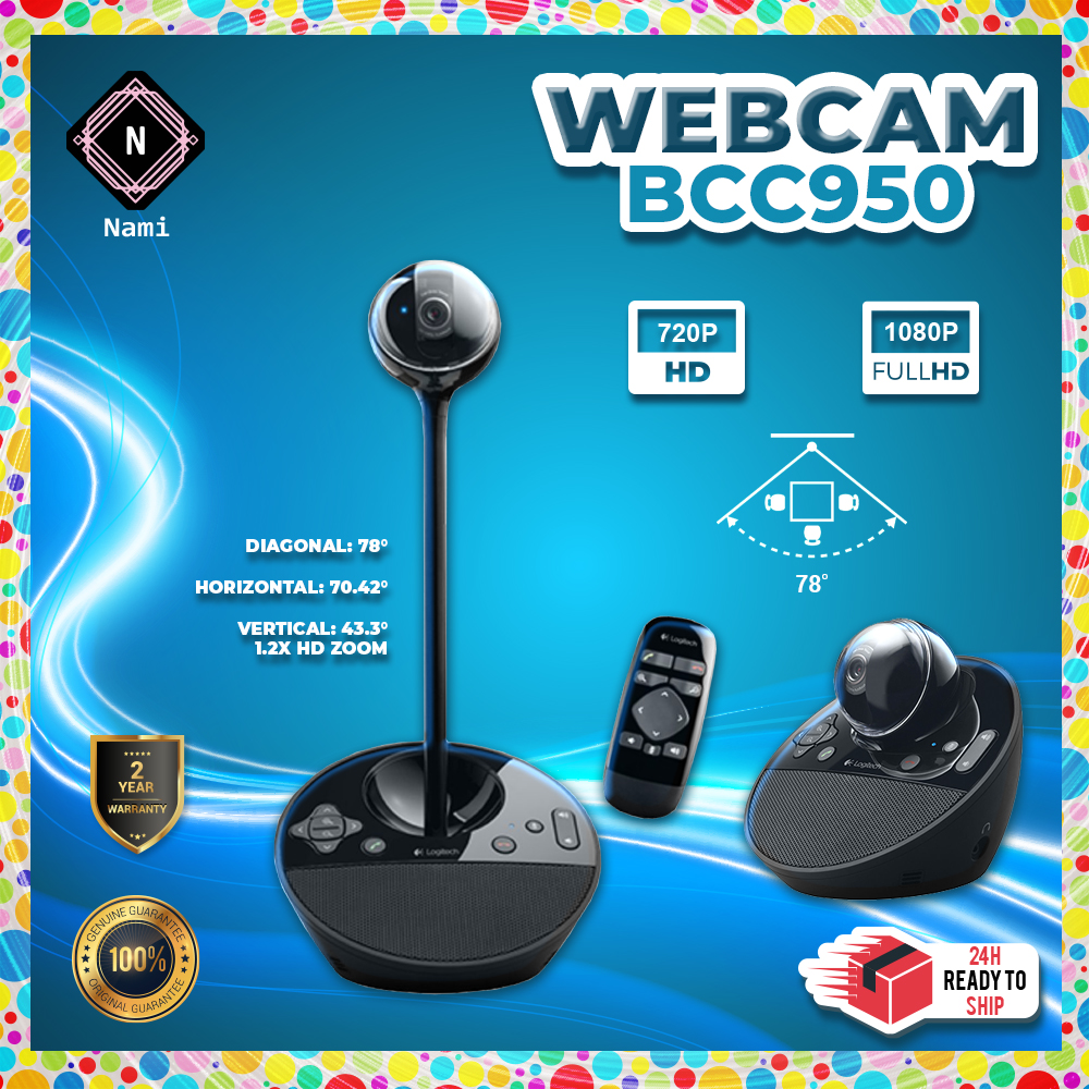 Logitech BCC950 ConferenceCam USB 1080p with Rightlight 2 Technology (EXTRA Protection + Fragile Sticker)