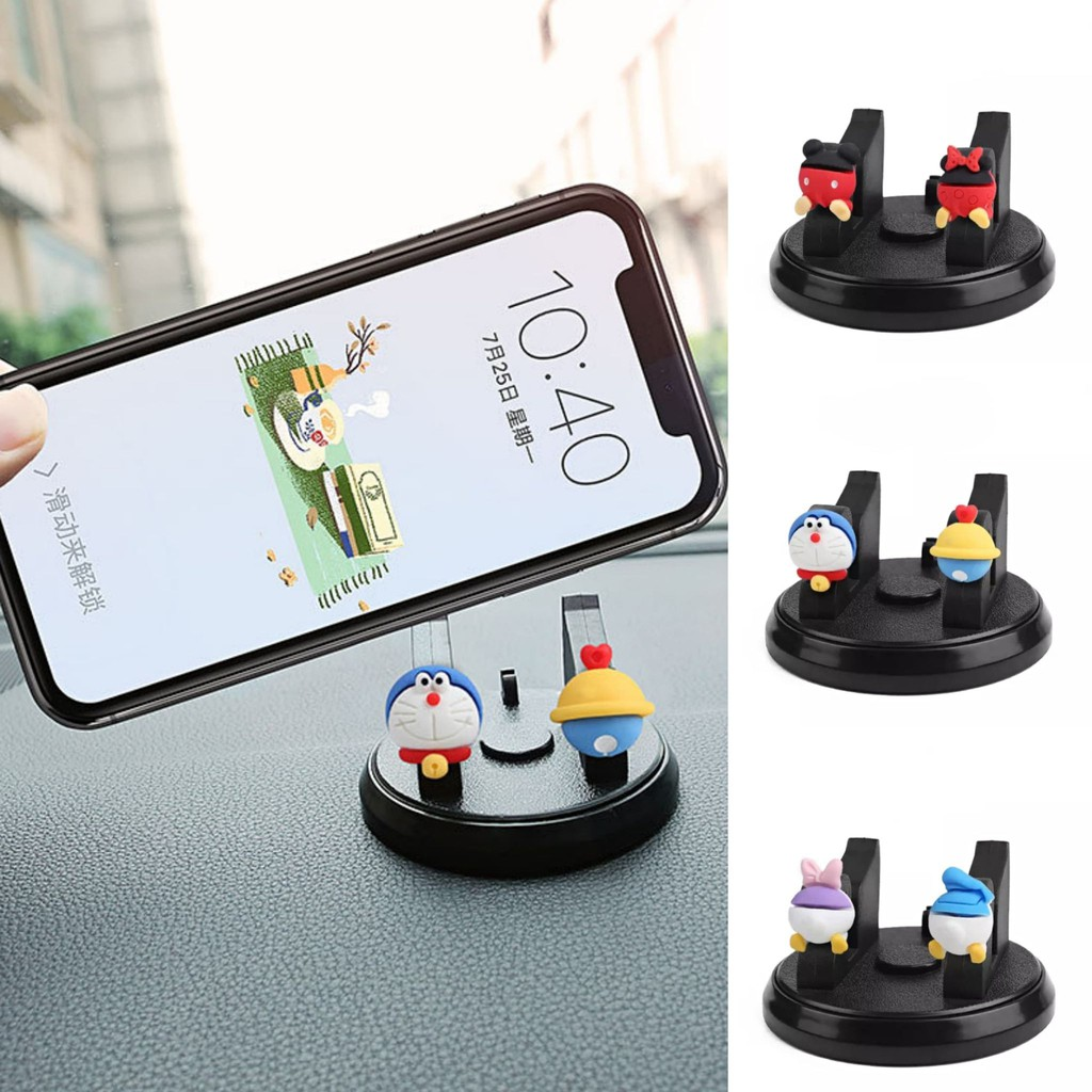 Cute Cartoon Doraemon Mickey Donald Duck Car Accessories 360 Degree Rotating Universal Mobile Phone Holder