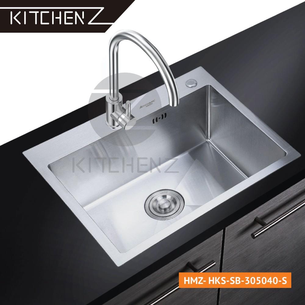 Kitchenz SUS304 Stainless Steel Handmade Single Bowl Kitchen Sink KZ-HKS-SB-305040-S