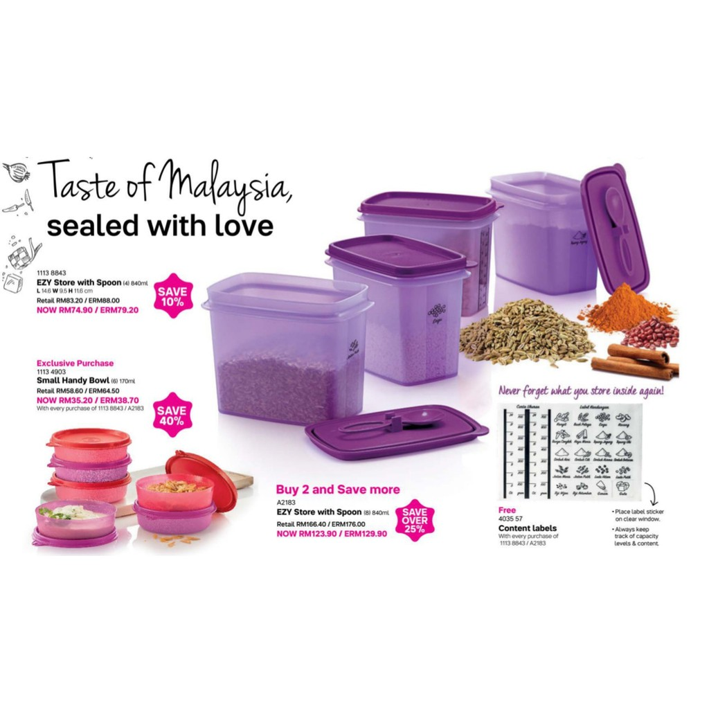 Tupperware EZY Store with Spoon (4) 840ml Purple