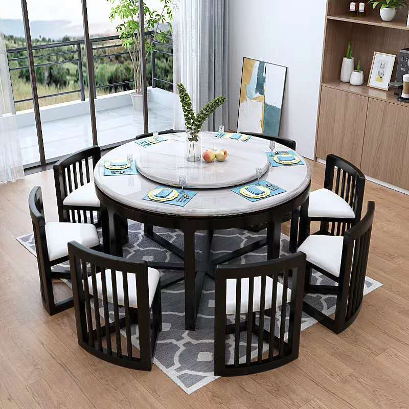 Large 8 Seater Marble Solid Wood Round Dining Table Living Room Furniture Combination Shopee Malaysia