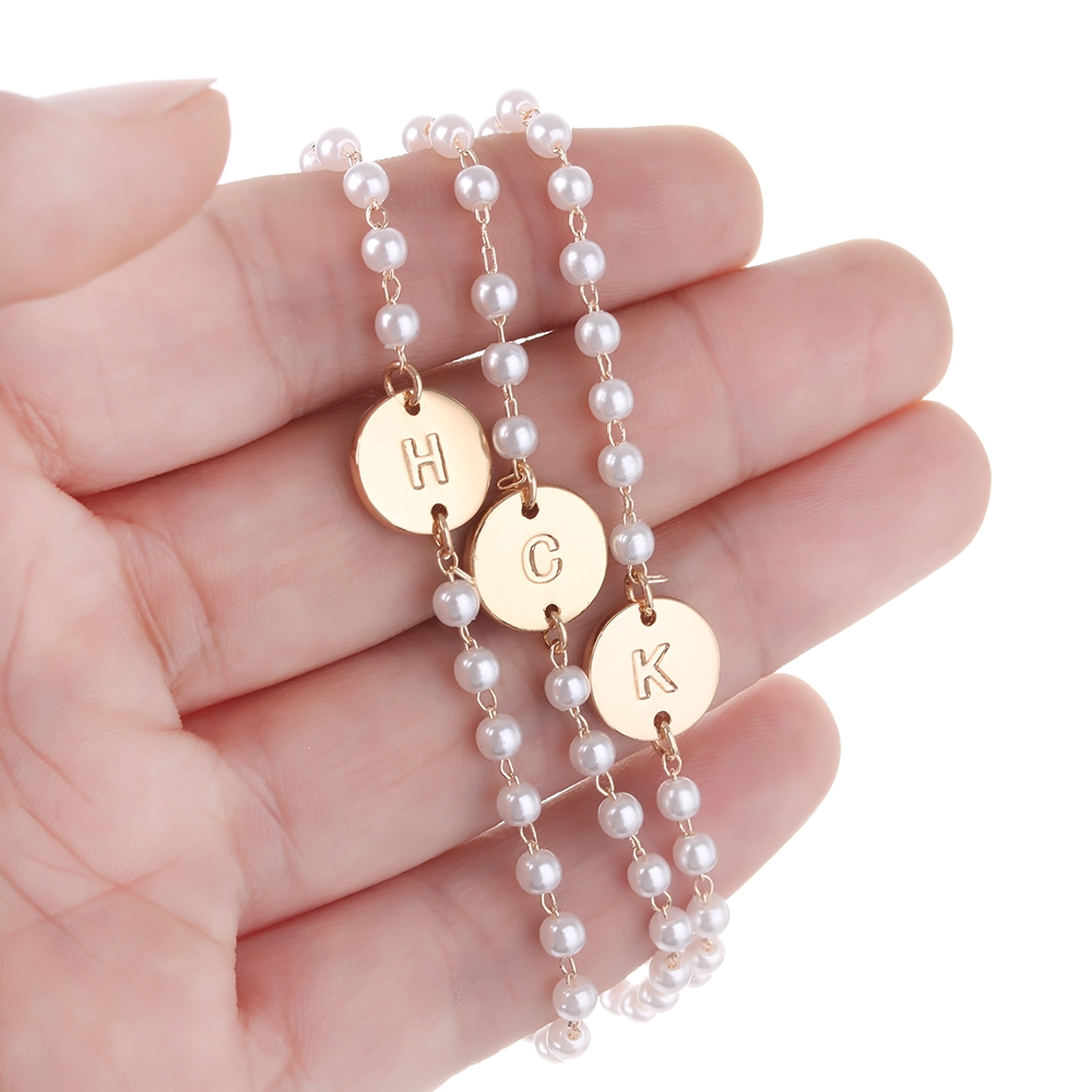 e702e9ce51 Fashion Personalized Pearl Jewelry Gold Simple Tiny 26 Letters ...