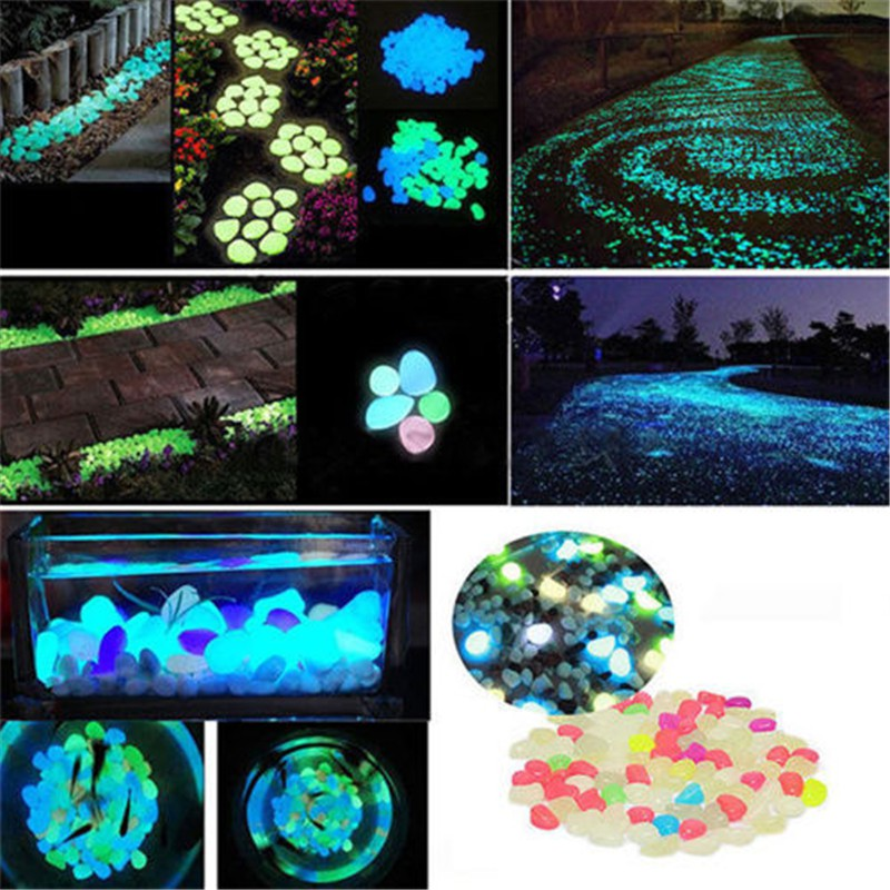 100pcs/bag Luminous Pebbles Stone Glow In The Dark Garden Ornament Wedding