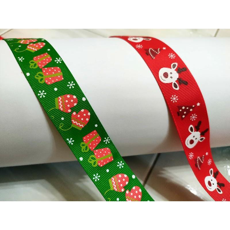 Ready Stock ~ 25mm / 2.5cm Grosgrain Christmas  Ribbon
