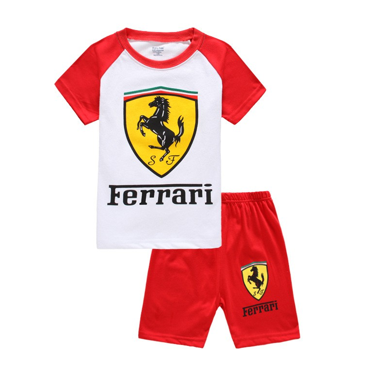 Ferrari Kids Boys Pajamas Sleepwear 2pcs Toddler Short Sleeve Top Pants Homewear Shopee Malaysia