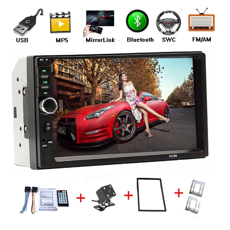 7'' Bluetooth Double 2 din Car Radio MP5 Player USB AUX FM With Camera  +Bracket